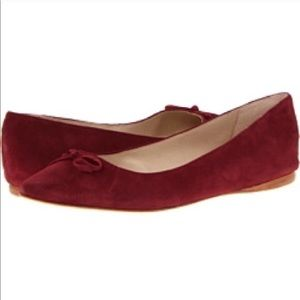 """""""Sweetness"""" Burgundy Suede Bow Flats"""